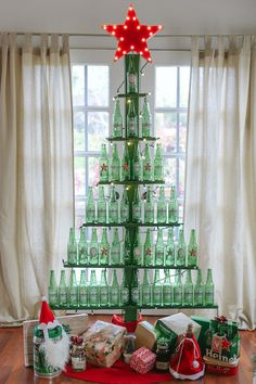 #DIY Beer Bottle Tree! Perfect for a bachelor pad or fun holiday party decor #EviteGatherings