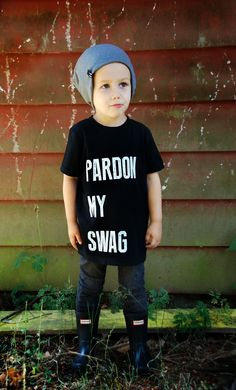 """""""Pardon My Swag"""" T-Shirt is hand screen printed in White on a Black T-shirt. This super soft tee is a staple in every kids wardrobe. Kids Wardrobe, Trendy Kids, Cool Baby Stuff, Mom Style, Boy Fashion, Kids Outfits, Graphic Tees, Swag, T Shirt"""