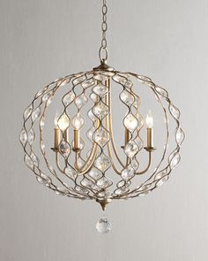 Dining Room - Leila Baloon Chandelier at Horchow. Balloon Chandelier, Chandelier Bedroom, Modern Chandelier, Chandelier Lighting, Chandeliers, Entry Chandelier, Round Crystal Chandelier, Dining Room Lighting, Nursery Lighting