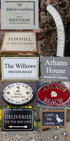A huge range of house signs, house name signs and nameplates to suit all budgets and situations. They are all individually crafted just the way you want them. There are stone house signs made from slate, granite, limestone and Purbeck stone. Wooden house signs can be made from oak, iroko, sapele, chestnut, cedar and cherry. There is also brass - cast and engraved as well as bronze and aluminium. Manmade materials for house signs include corian, PVC and acrylic. There is something for everyone. House Name Signs, House Names, Purbeck Stone, Home Wooden Signs, Willow House, Sign Maker, Corian, Wooden House, Just The Way