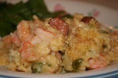 A scrumptious and super easy casserole made with shrimp, rice, cream soups and onion, bell pepper and celery, the Trinity of vegetables.