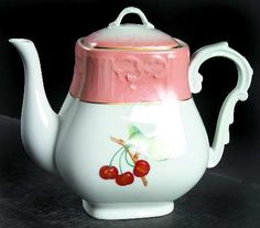 Mottahedeh summer fruit teapot pink and white with cherries