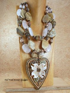 Cowgirl Necklace Set Western Statement  Chunky Rose Quartz