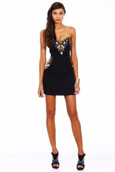 Seduce Marquee Strapless Tribal Dress