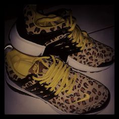 Leopard Nikes. Have never seen them in this color. So cute.