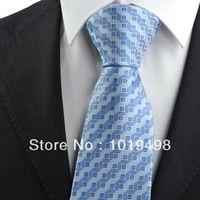 free shipping1pcs mens dress ties Blue Bronze Coin Checked Pattern JACQUARD WOVEN Microfiber Men's Tie Necktie,Width 8.5cm