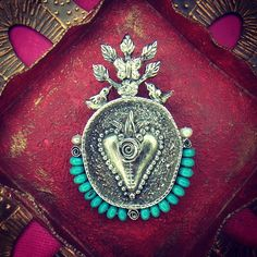 Reliquary (pendant) - ©2014 Lorena Angulo - Sterling, turquoise and pearls