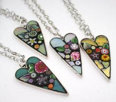 Flower Heart Pendants by Mosaic artist Angela Ibbs Design.