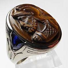 VINTAGE ESTATE MENS RING TIGER EYE CAMEO & CREATED SAPPHIRE RING SOLID 10K WHITE GOLD