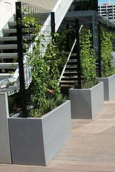 30 Pretty Privacy Fence Planter Boxes Ideas To Try - Balcony Garden Balcony Planters, Fence Planters, Modern Planters, Balcony Garden, Balcony Privacy Plants, Concrete Planter Boxes, Cheap Planters, Garden Privacy, Tall Planters