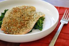 this was REALLY delicious, only modified with GF panko instead - pumpkin seed encrusted baked tilapia (5pt)