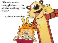 There's never enough time to do all the nothing you want. - Calvin & Hobbes