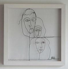 Wire faces by Rachel Ducker 3d Doodle Pen, Face Line Drawing, Wire Drawing, Wire Sculptures, Face Lines, 3d Pen, People Illustration, Wire Crafts, People Art