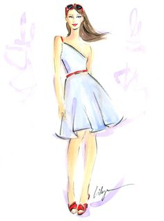 East Urban Home 'Blue Belle' Print Format: Red Mahogany Wood Medium Framed Paper Dress Design Drawing, Drawing Sketches, Drawings, Fashion Artwork, Beauty Illustration, Fashion Sketches, Fashion Illustrations, Print Format, Designs To Draw