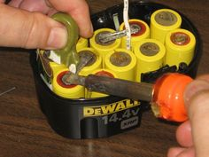 Battery Pack Rebuild - Homemade rebuild of a cordless tool's battery pack consisting of the manual replacement of existing cells with new units. Cordless Drill Batteries, Cordless Tools, Lead Acid Battery, Tricks, Software, Laptop, Skin Whitening, Epsom Salt, Charger