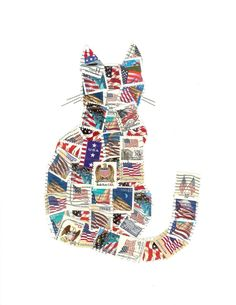 Cat of the Day:  Patriotic Cat United States Flag Postage Stamp by SailThouForth, $42.00