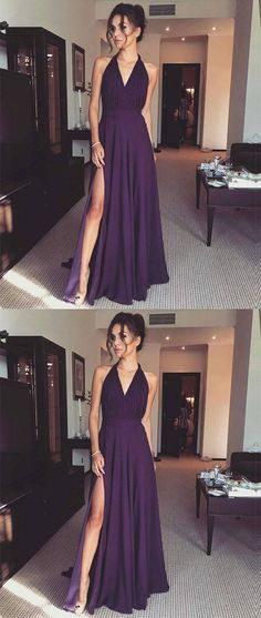 halter grape prom party dresses, chic long formal dresses for fashion party.