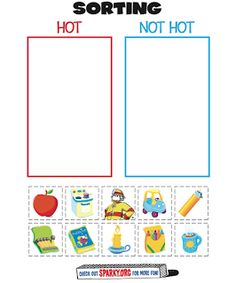 """Hot or Not"" Fire Worksheet- For Fire Prevention/Safety Week (Preschool) Preschool Themes, Preschool Lessons, Preschool Activities, Preschool Rules, Preschool Fire Safety, Kids Safety, Fire Safety Crafts, School Safety, Library Activities"