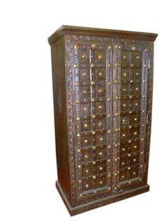 Dark Colonial Teak Doors Furniture Armoire Cabinet 70x38 Eclectic Furniture, Door Furniture, Wood Cabinets, Teak Wood, Carving, Colonial, Antiques, Doors, Incredible India