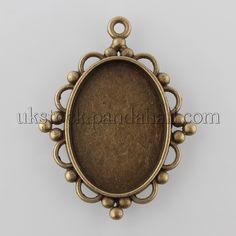 Antiqued Bronze Alloy Rectangle Rose Side Cameo Setting Pendant 40*32*3mm 8pcs
