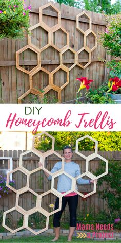 Honeycomb Garden Trellis DIY Tutorial Learn how to build this amazing DIY Honeycomb Trellis for your garden and become the envy of your neighbors. This unique piece of garden art adds so much vertical Unique Gardens, Back Gardens, Outdoor Gardens, Outdoor Patios, Veggie Gardens, Outdoor Art, Outdoor Rooms, Outdoor Living, Diy Garden Decor