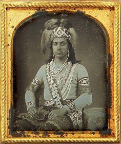 ca. 1852, [daguerreotype portrait of an Iroquois man, probably Seneca, with applied hand-gilt detail] via Heritage Auctions