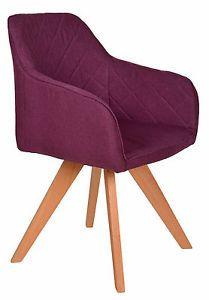 Design Esszimmer Stuhl Polsterstuhl Küchenstuhl Holz Lila Lounge Sessel NEU