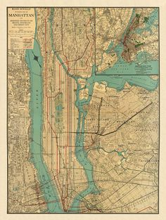 Antique map Antique Manhattan map Print 26 x by AncientShades, $48.00