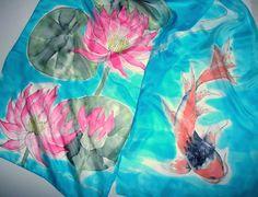 Hand painted silk scarf, silver gutta and silk dyes on Habotai 5 Silk