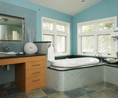 Ideas for remodeling a bathroom with shades of blue! Discover how to create a beautiful blue bathroom, no matter your style. Seaside Bathroom, Beach Bathrooms, Dream Bathrooms, Amazing Bathrooms, Blue Striped Walls, Blue Walls, White Mosaic Tiles, White Subway Tiles, Blue Bathrooms Designs