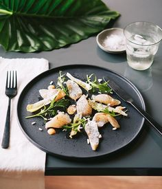 Torched kingfish with kimchi mayo, charred onion and black sesame oil recipe, Stillwater, Tasmania :: Gourmet Traveller