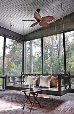 Porch bed swing for a screened porch creates a relaxing and retreat like atmosphere. Screened Porch Decorating, Screened Porch Designs, Screened Porches, Back Porch Designs, Back Porches, Porch Bed, Porch Swings, Patio Swing, Bench Swing