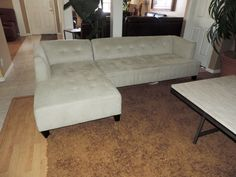 Macy's Alessia Tufted Creme MicroFiber Two Piece Sectional*WE SHIP ANYWHERE* #Macys #Modern