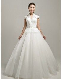 Unique high collar cap sleeves lace appliques Swarovski and pearls peplum ball gown sweeping train wedding dress TB-227
