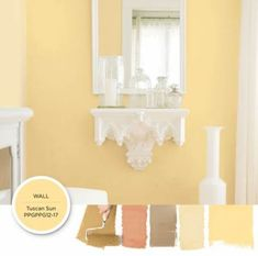 Classic yellow paint color Tuscan Sun can add a charming brightness to your space. Get this paint color tinted in PPG Pittsburgh Paints, PPG Porter Paints & or PPG Paints products. French Country Colors, French Country Kitchens, French Country Bedrooms, Country Bathrooms, Country Blue, Yellow Paint Colors, Yellow Walls, Yellow Painting, Yellow Kitchen Walls