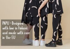 Let's wear some sausages! Finnish design on spot. Ethical Clothing, Kids Outfits, Kimono Top, Black Jeans, Unisex, Sausages, Stylish, Pattern, Pants