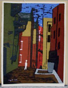 Kiyoshi Saito Back Street of Tokyo, 1947 woodblock print