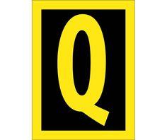 Letter, Q, 2.5 REFLECTIVE YELLOW BLACK, PS Vinyl