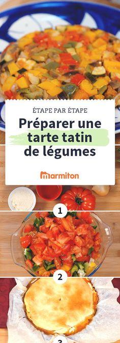 Réussissez facilement cette délicieuse tarte tatin aux légumes en suivant notre pas à pas photos en images, une recette qui sent bon le soleil #pasapas #marmiton #recette #ete #cuisine #legume #tomate #tatin #tarte #courgette #aubergine