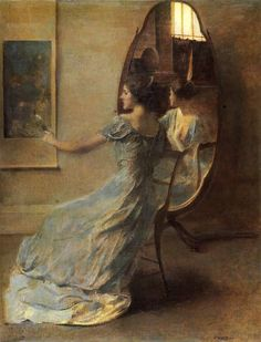 """""""The Chair she sat in, like a burnished throne, Glowed on the marble, where the glass ... Reflecting light upon the table ..."""" (The Waste Land: II. A Game of Chess, 1922). Painting: """"Before the Mirror"""" by Thomas Dewing"""