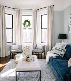Window Treatment Ideas For Living Room Elegant Contemporary Furniture Roman Shades And Drapery Panels Decorating Dining Love The Light Upholstered Coffee Table Bay Curtains