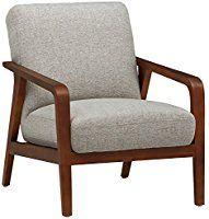 Rivet Huxley Mid-Century Accent Chair, Light Grey