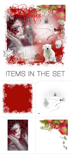 """""""Red Christmas"""" by thresholdpaperart ❤ liked on Polyvore featuring art and artset"""