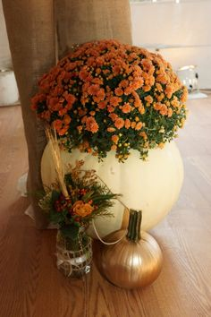 Fall Wedding Decor...large cleaned out pumpkin with a potted mum, gold spray painted pumpkin, decorated mason jar with flowers. Easy and affordable.