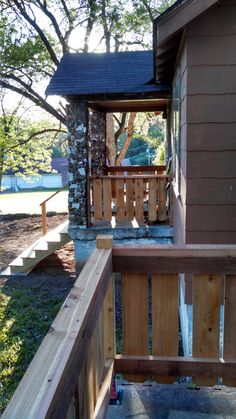 A nice view of both matching railings.  They'll look great with some cedar stain