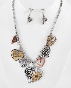 Tri-tone / Clear Rhinestone & Glass Crystal / Lead&nickel Compliant / Metal / Heart Charm Necklace & Fish Hook Earring Set