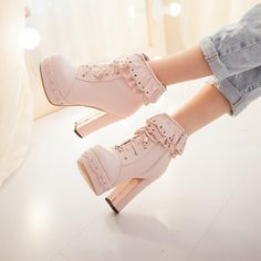 Japanese sweet lolita short boots from Asian Cute {Kawaii Cl.- Japanese sweet lolita short boots from Asian Cute {Kawaii Clothing} - High Heel Boots, Heeled Boots, Shoe Boots, High Heels, Shoes Heels, Ankle Boots, Boot Heels, Pretty Shoes, Cute Shoes