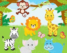 Safari Jungle Animals Cute Digital Clipart by JWIllustrations