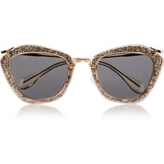 Miu Miu Cat-eye glittered acetate and metal sunglasses ($415) ❤ liked on Polyvore featuring accessories, eyewear, sunglasses, glasses, miu miu, metallic, cateye glasses, metallic sunglasses, metallic glasses and acetate glasses