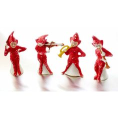 Christmas Elf Band German Porcelain Bisque 1920s Set of 4 Red Musician... ($257) ❤ liked on Polyvore featuring home, home decor, red home decor and red home accessories